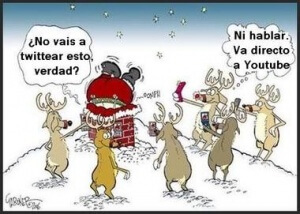 Renos compartiendo en las Redes Sociales que Papá Noel se ha atascado en una chimenea en Navidad.